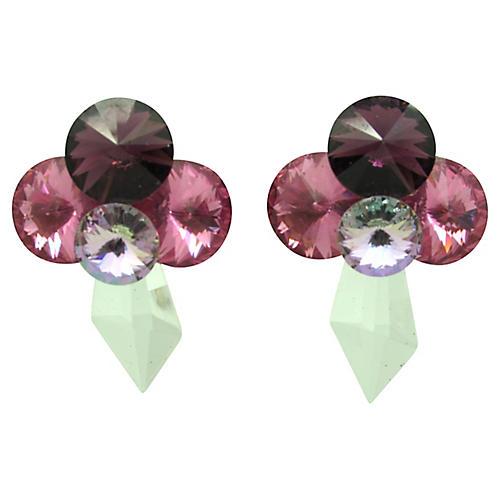 1980s Pink & Purple Rhinestone Earrings