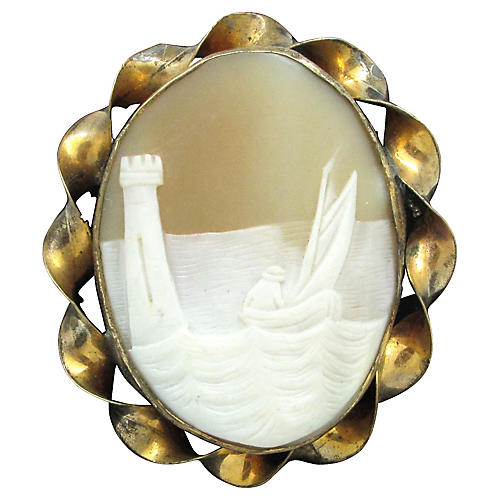 Antique Carved Shell Scenic Cameo Pin