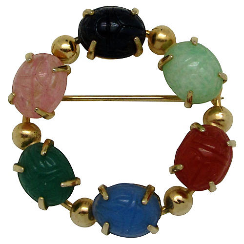 Multicolored Glass Scarab Brooch