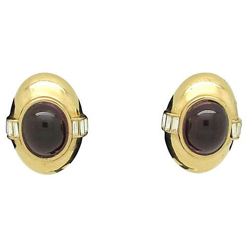 Ciner Earrings w/ Ruby Glass Cabochons