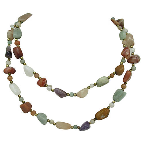 Amethyst, Agate & Quartz Bead Necklace