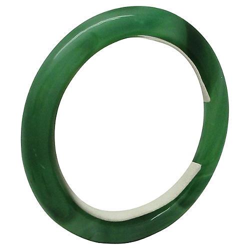 Marbled Green Jade Bangle