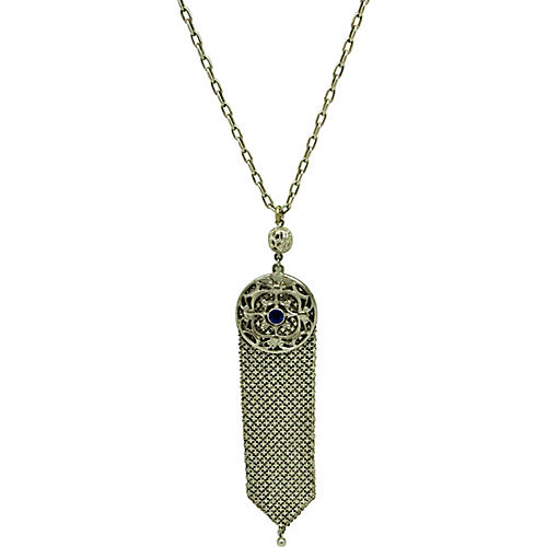 Mesh Pendant w/ Stone on Chain