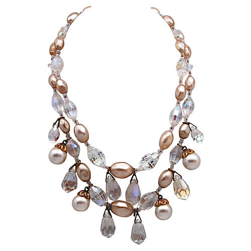 2-Strand Crystal & Faux-Pearl Necklace