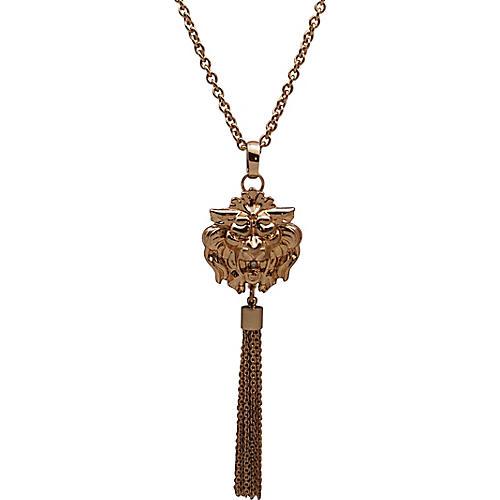 1980s Lion's Head Tassel Necklace
