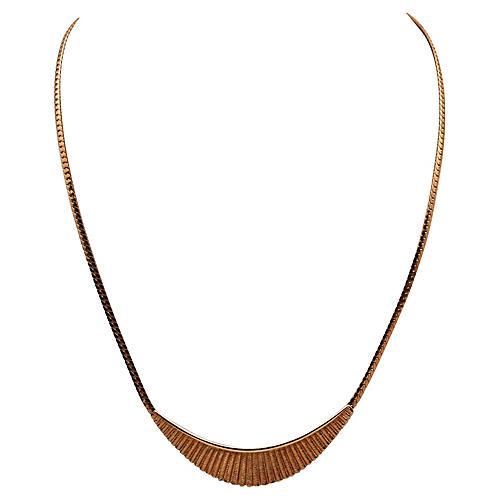 Avon Fanned Metal Centerpiece Necklace
