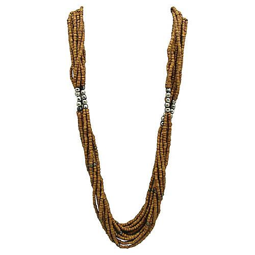 1980s Wood & Metal Bead Torsade Necklace