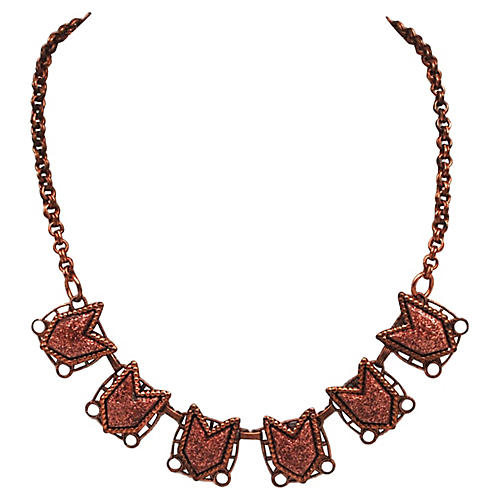 1960s Modernist Geometic Copper Necklace