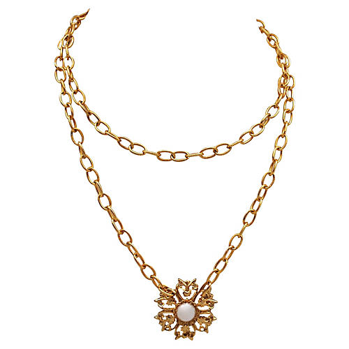 Faux-Pearl Floral Pendant on Chain