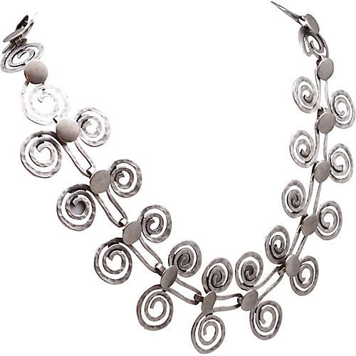 Brutalist Hammered Coil Link Necklace