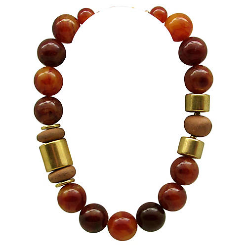 Cadoro Faux-Amber Bead Necklace