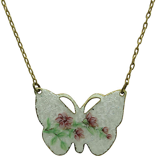 1970s Floral Enameled Butterfly Necklace
