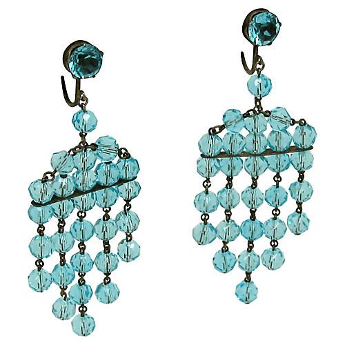 Faceted Glass Bead Fringe Earrings