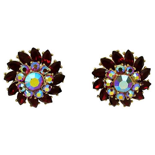 Trifari Rhinestone Flower Earrings