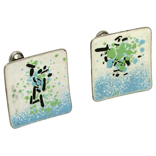 Modernist Enameled Earrings