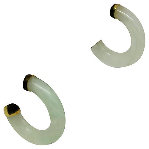 Nephrite Half-Hoop Earrings