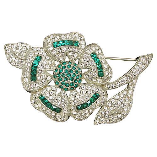 Art Deco Faux Emerald & Diamond Brooch