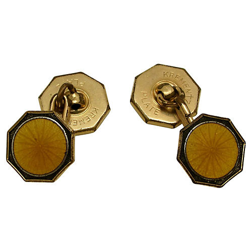 Krementz Art Deco Enameled Cuff Links