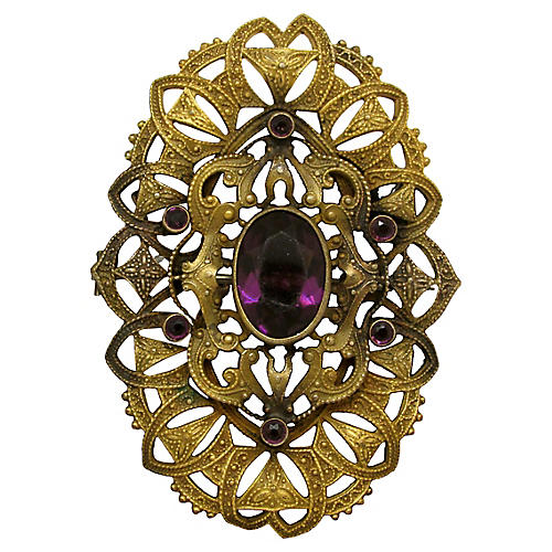 Art Nouveau Amethyst Glass Pin