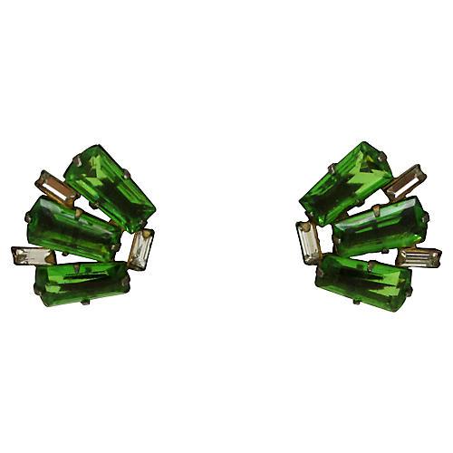 20s Sterling & Glass Art Deco Earrings