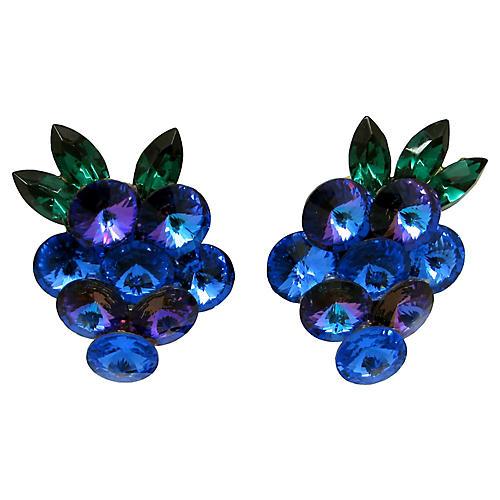 Grape Rhinestone Cluster Earrings