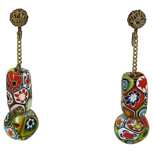 Millefiori Pendulum Earrings
