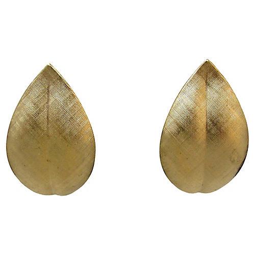 Napier Brushed Gold Leaf Earrings
