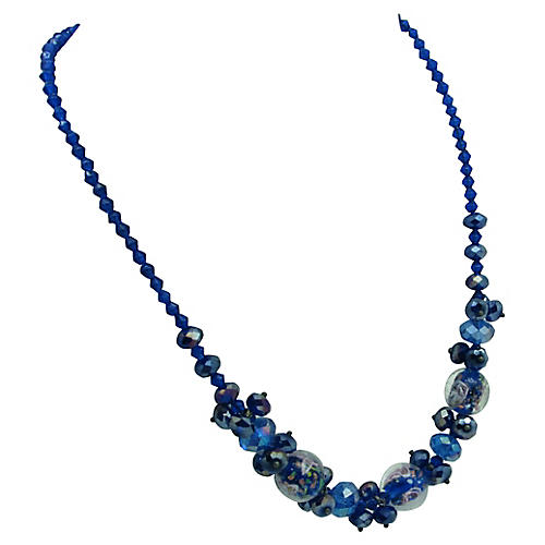 Faceted Glass & Murano Bead Necklace