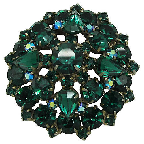 Emerald Glass Domed Brooch