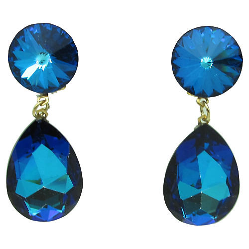1980s Faceted Blue Glass Earrings