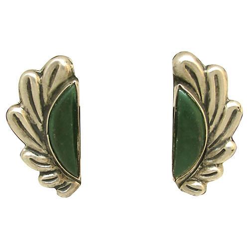 Sterling & Malachite Leaf Earrings
