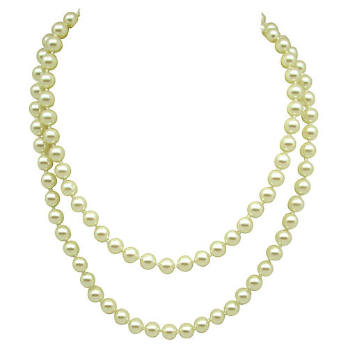 Knotted Opera-Length Faux-Pearl Necklace