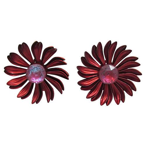 Glass & Red Enamel Flower Earrings