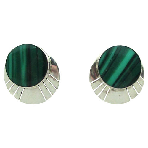 Serrated Sterling & Malachite Earrings