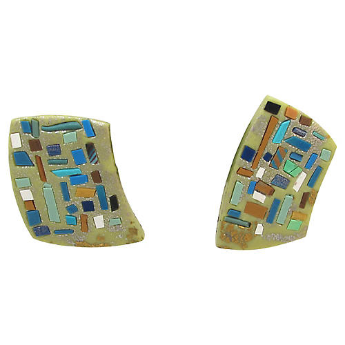 Modernist Inlaid Mosaic Earrings