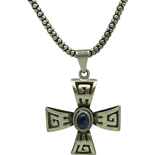 Sterling & Lapis Cross Necklace