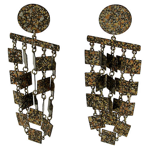 Metallic Geometric Fringe Earrings