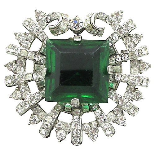 Art Deco-Style Faceted Green Glass Pin
