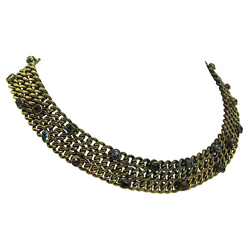 1940s Chain Link Collar Necklace