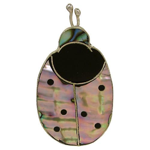 Abalone & Onyx Ladybug Pin