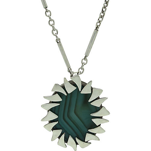 Sterling & Malachite Pendant Necklace
