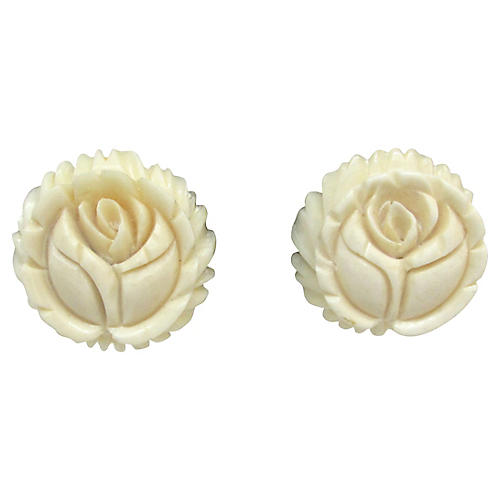 Carved Bone Flower Earrings