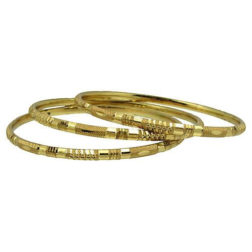 Engraved Gold Bangles, S/3