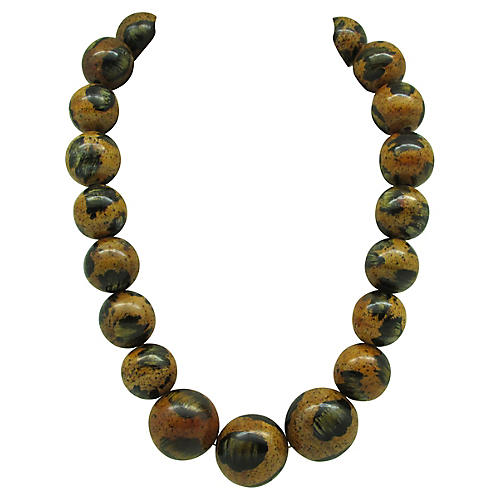 Graduated Painted Wood Bead Necklace