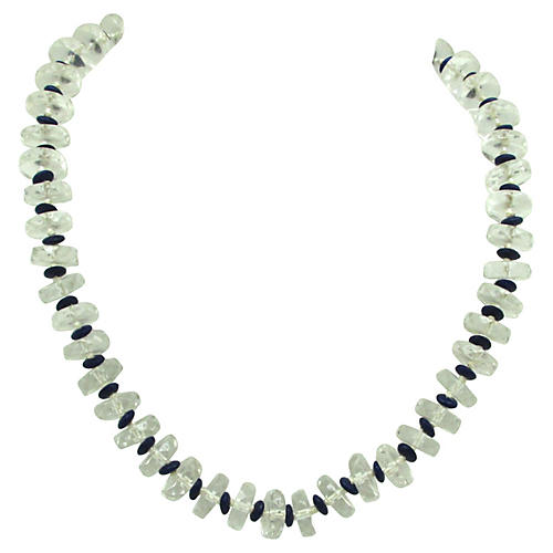 Hand Knotted Faceted Glass Bead Necklace