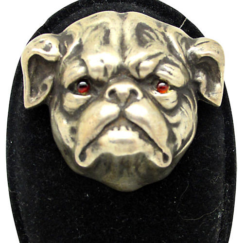 Sterling Bulldog Brooch W/Ruby Glass