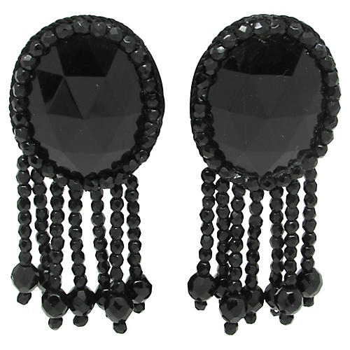 1980s Faceted Glass Chandelier Earrings