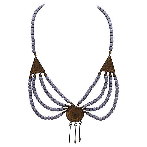 Multi Strand Festoon Necklace W/Brass