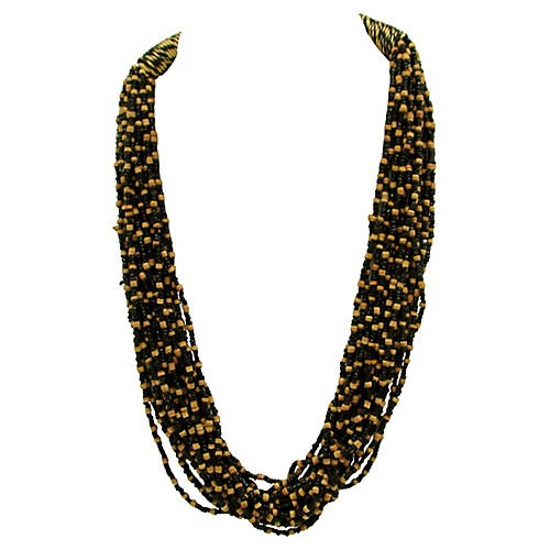 1980s Seed Bead Torsade Necklace