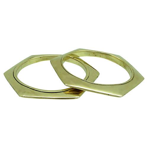 Geometric Brass Bangles S/2